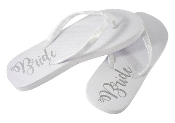 f6c89d5d4e00c2 Silver Shimmer Bride Sole Flip Flops White Flat Bridal