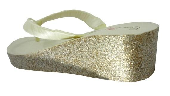 amp; gold heel Champagne Flip silver Wedding 2 Flops White Wedge Glitter choose ivory inch CwfRT