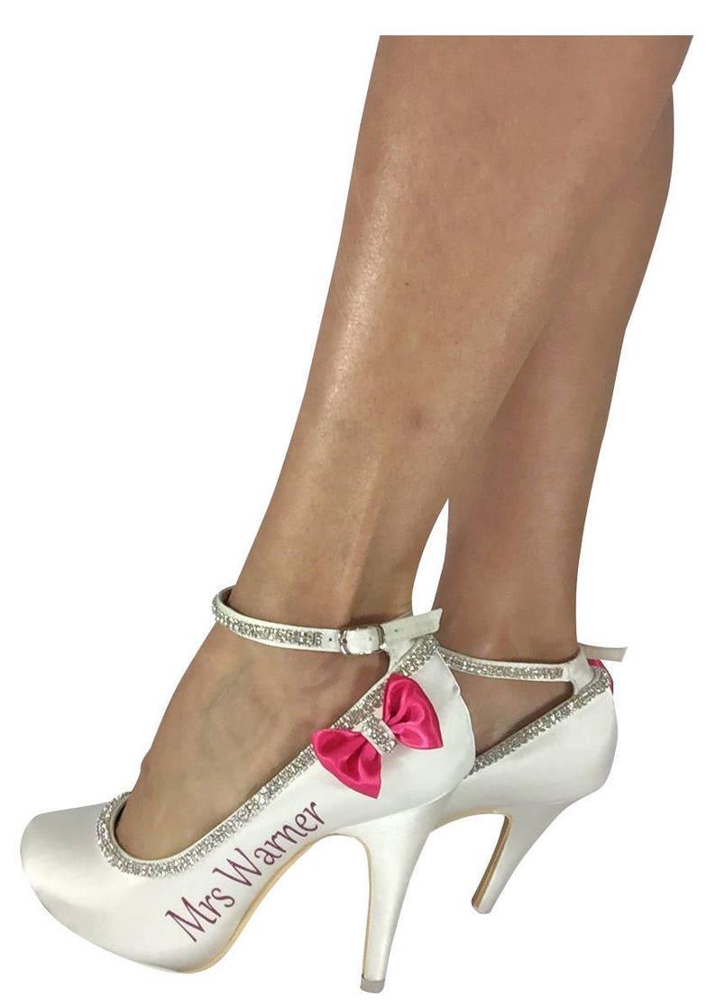 4af9fcbf4fbd Coral Rhinestone Bows on Ivory Bridal Heels with Gold Mrs Last