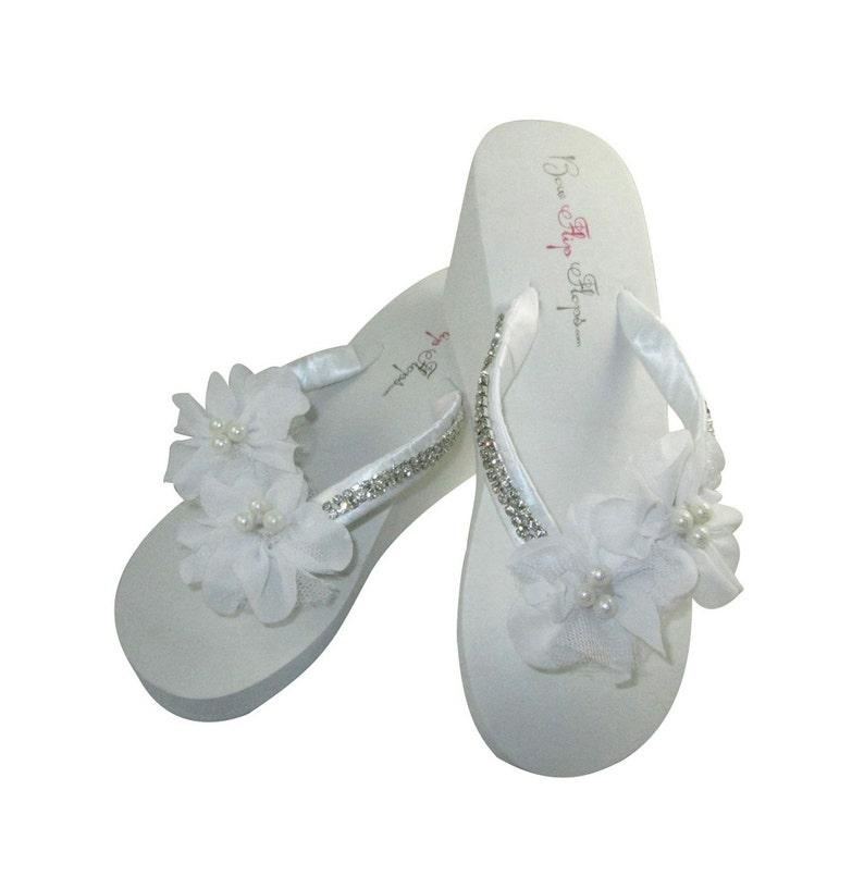 0b8f31cd88e Bridal Wedge Flip Flops Diamond bling wedding flip flop