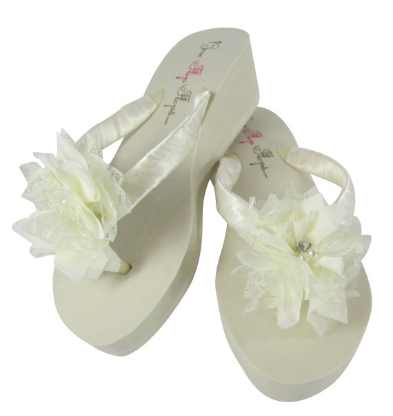 f122fec4c Ivory Lace Pearl Wedge Flip Flops Sandals Flat Rhinestone Heel Shoes  Bridesmaid White Flower Chiffon Wedding ...