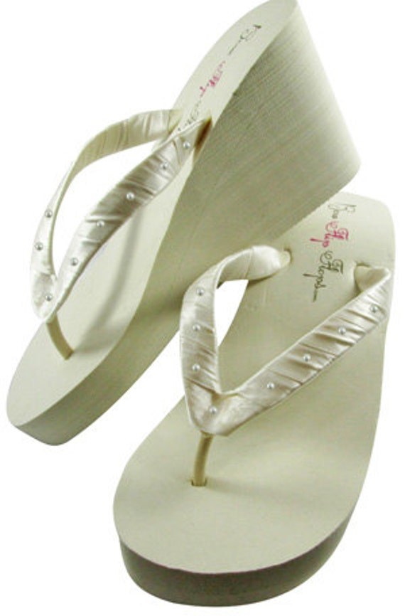 bride wedding White flops flip Pearl Swarovski for bridesmaids or Wedge or the Ivory xqOfvZF
