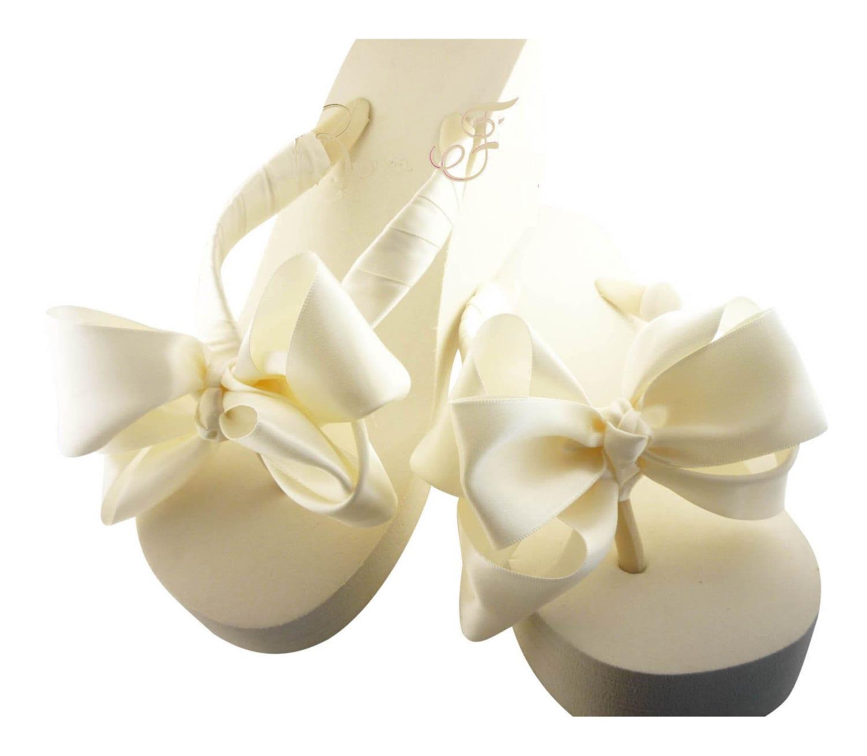Bridal Wedge Flip Flops Double Bow Wedding Flip Flops -8560