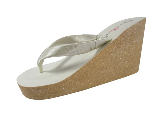 Flops or Painted Oatmeal Colors Flip Ivory Glitter with Bling Wedge Champagne Many Wedding Sparkle 5FwzqIg