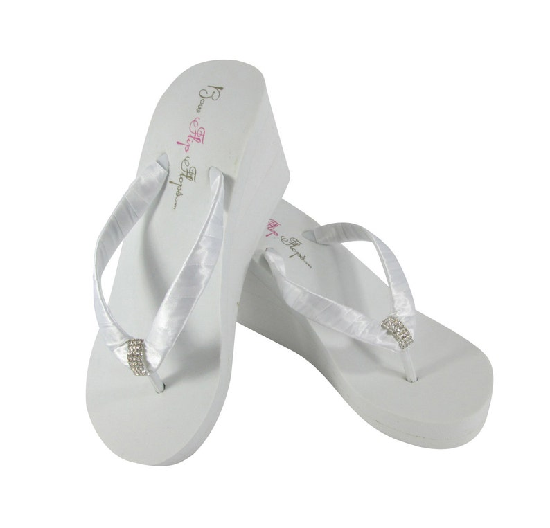 a585ceee3 Bridal Flip Flops in Ivory or White 3.5 inch 2 inch or 1.25