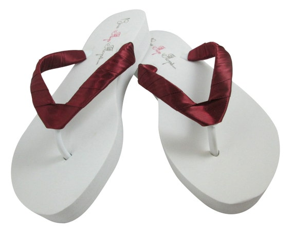 or straps Bridal Plain Wedges Flip Beet Satin wrapped Ivory Shoes Bridesmaid Flops Sandals Wedding White Red pZwaq1Ixx