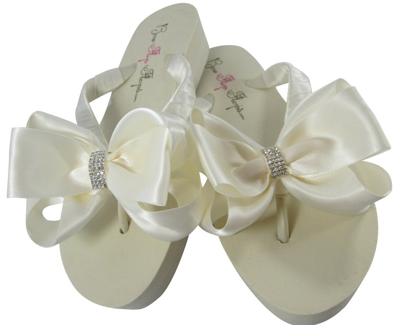 8eacd441e Bridal Flip Flops with Emerald Cut Jewel Rhinestone Wedge