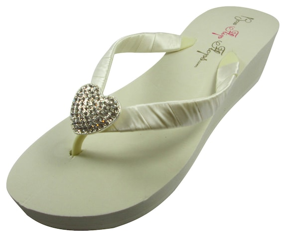 Flip White Navy Bridesmaid Bridal choose Wedding Blue Heel Flat Wedges Flops colors Bride Heart Shoes Flip Ivory Flops Pqa5Ywxw