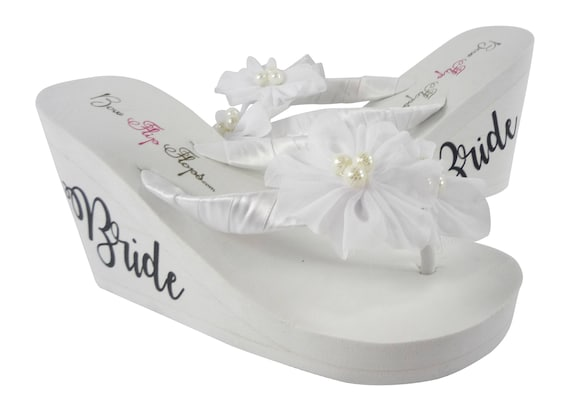 or Pearl Bride Flower Ivory White Chiffon Flops Wedge colors Silver choose or Flip Lettering wTS8xqCw