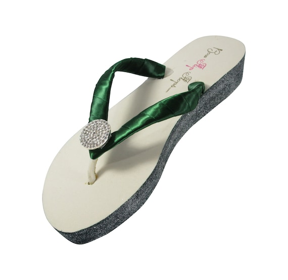 Glitter Round Silver Champagne Midnight Forest Satin Flip Green Bling Evergreen Flops Jewel q7t1wPS