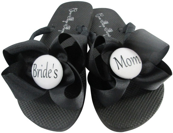 Groom Flower Wedding Bridesmaid Customizable Party with the Flops Bridal Sandals White for Mom Girl Navy Bride's Flip Bow Zq6OwZ0