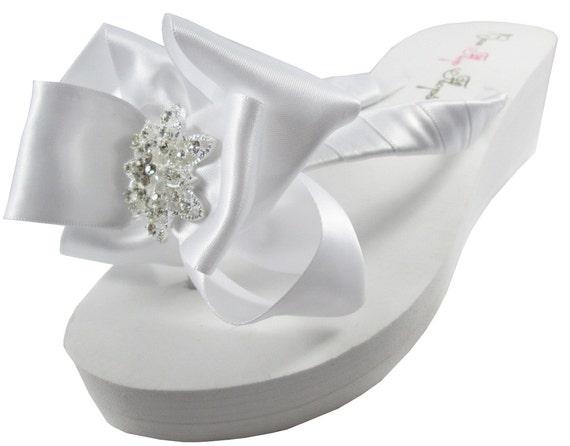 Flip White Platform Ivory Wedding Bride Flip Rhinestone Bling heel Flat bow Vintage gift Wedge Flops Flops Bridal bridesmaids Flower xpfw8xH