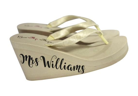 of Choose or High White Mrs Flops Ivory Bridal Colors Wedge your Wedge Side Flip Wedding Shimmer Lettering on Low p7wYnqSZ7