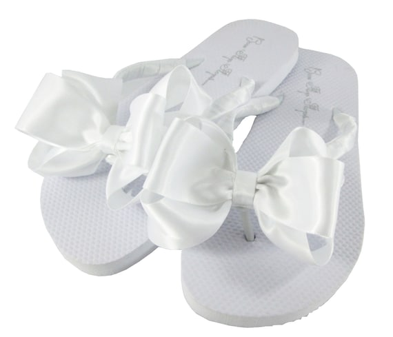 Flops band Bridesmaid flat of Wedding amp; selection Flip the satin bows white Flops Shop Flip classic huge Bow qxBaFt0