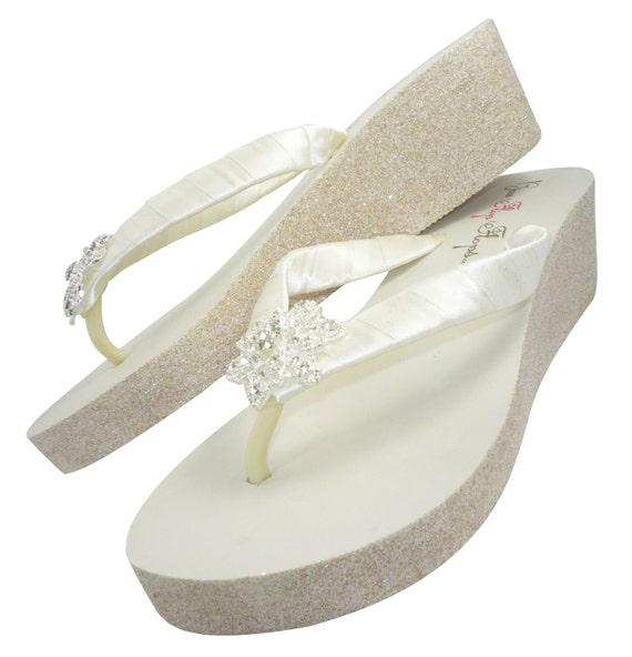 Flip Bridal Embellishment for Champagne White Heel Wedge Pearl the Silver Glitter Sandals Ivory Wedding Flops Bride Gold qwPUTnfvEx