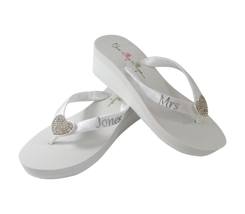 bed52b6e98 Heart Mrs Bridal Flip Flops White Heel or Ivory Bling Choose | Etsy