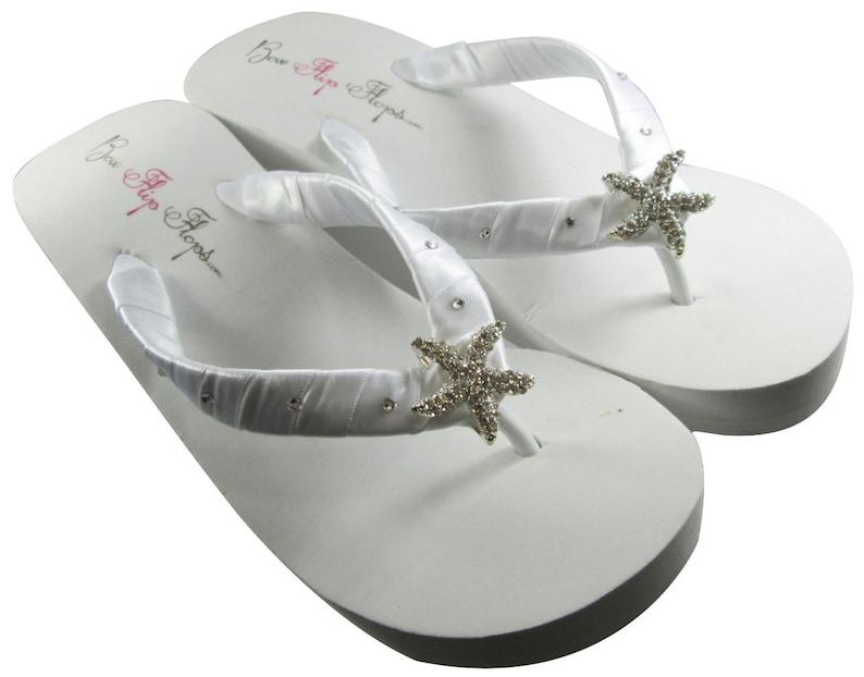 5e9b04b38c45bc Starfish bridal Wedge flip flops wedding flip flops for bride