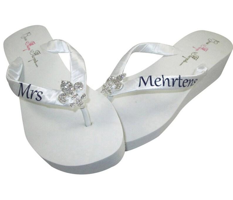 3e69952d1 Fleur de Lis Personalized Wedding flip flops design your