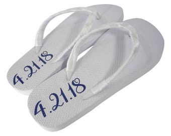 Wedding Date Flat White Flip Flops in Custom Shimmer Lettering Color for the Bride, Royal Blue, Pink, Gold, Silver