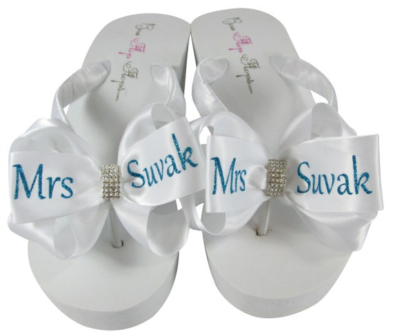 wedge cut Bridal Flip Flops Name emerald Mrs bride Flip Flops Glitter Turquoise personalization flops flip Wedding Last 6gB6n