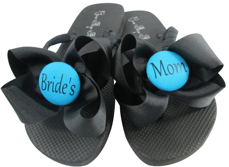 3c73e75b80e67 Bride s Mom Bow Flip Flops in Turquoise Blue or Mother of
