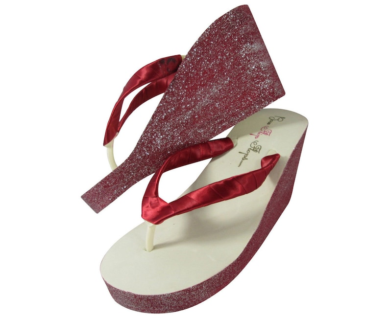 182818574acc Red Ivory and Silver Glitter Wedge Bridal Flip Flops  Many