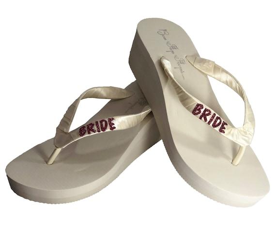 8e54dd7dd61cba Burgundy Glitter Bride Wedge or Flat Flip Flops in White or