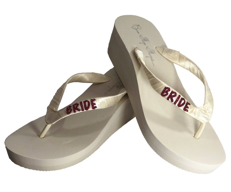 a2cf6221d Burgundy Glitter Bride Wedge or Flat Flip Flops in White or