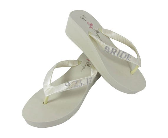amp; inch Glitter Flip 2 Ivory Bride or Date or heel Wedding Customized White Flops Pink 3 Wedge Hot 1 Personalization or d7cwH