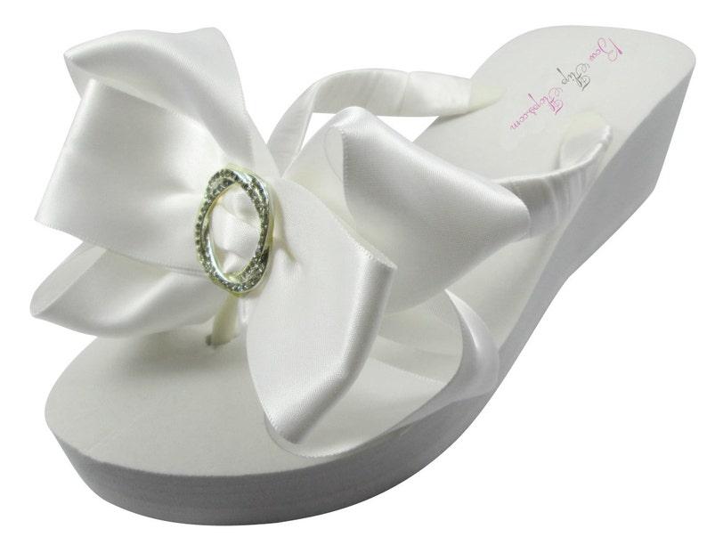 95b32d29d Bridal Flip Flops Rhinestone Satin Ivory Wedge Infinity