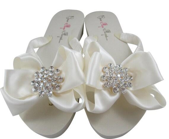 05a6fb91c71daf ... Wedding Ivory Jewel flip bridesmaid Flat Bride color Flip Wedge  Platform Bride bow White Rhinestone Bridal ...