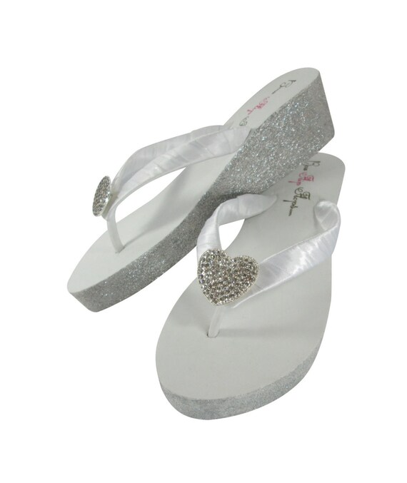 bffd13660 Glitter Flip Flops Bride Sandals Bridal Gold Silver Champagne Flop Flip  White Heart Wedding Ivory Bridesmaid ...