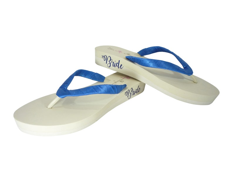 425779ddbf85e Royal Blue Bride Flip Flops with Cute Customized Shimmer