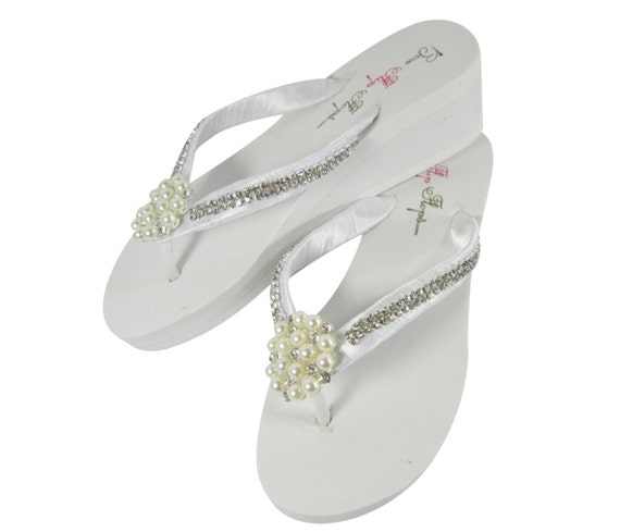 62a8e89e7085f5 Bridal Flip Flops Wedge Rhinestone Pearl Diamond Bling Satin