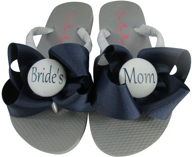 e9b485bae Mother of the Bride Navy Ivory   Gray Flip Flops Groom or