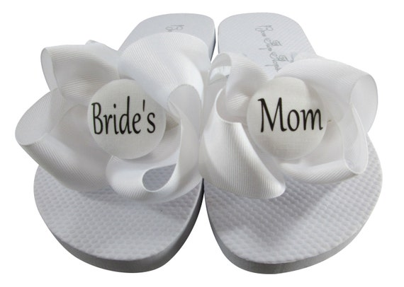 Mom White Flip Bride's the Mother Bride the Bows Mom of Flops Flip Flops for Wedding Groom's H4XBX8wq