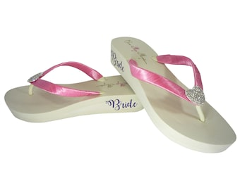 Hot Pink with Purple Bride, Heart Bling On Ivory or White Flip Flops, Low 1.25 inch, 2 inch or High 3.5 inch Heel, Wedding Bride Shoes