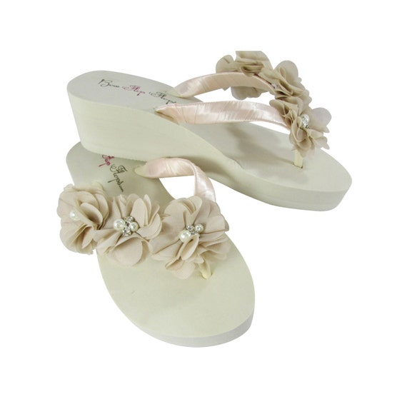 4ea0e64dc Bride or Bridesmaid Flip Flops with Sweetheart Flowers in