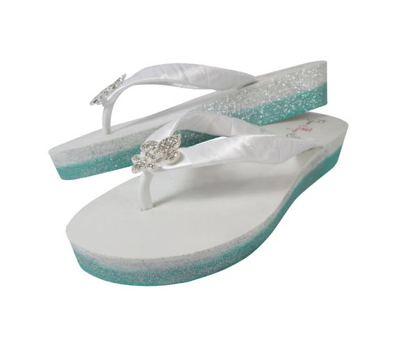 Flops Bridal Ombre Rhinestone Wedge Purple Bridal Flops Flip Princess Crown Glitter with and Flip Orchid r4wr5q