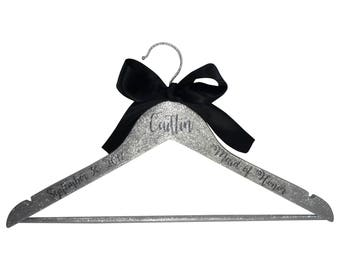 Bridesmaid Hanger - Silver Glitter & Black Satin Bow Personalized with Bridesmaid Name or Title and Date
