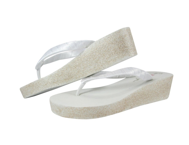 fa565a0a9f87c7 White Bride Wedge Flip Flops with Champagne Bling wedge