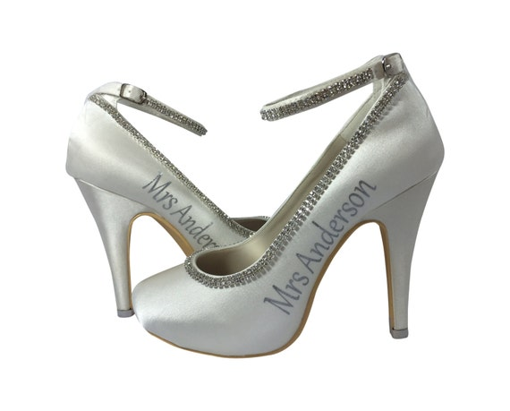 Diamonte Mrs date last name and and wedding Bridal Heels High Ivory Rhinestone Silver new Strap t8Rqxnw8FH