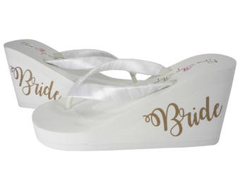 Gold Bride Script Wedge Heel Flip Flops - Ivory or White, Cute new design!