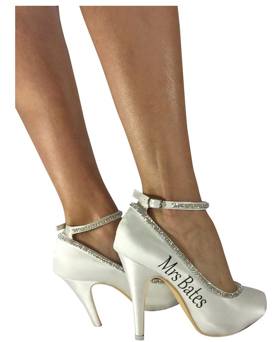 Wedding your Design Strap Heel own Heel Bridal Ivory Shoes Personalized High XRqqx1pw
