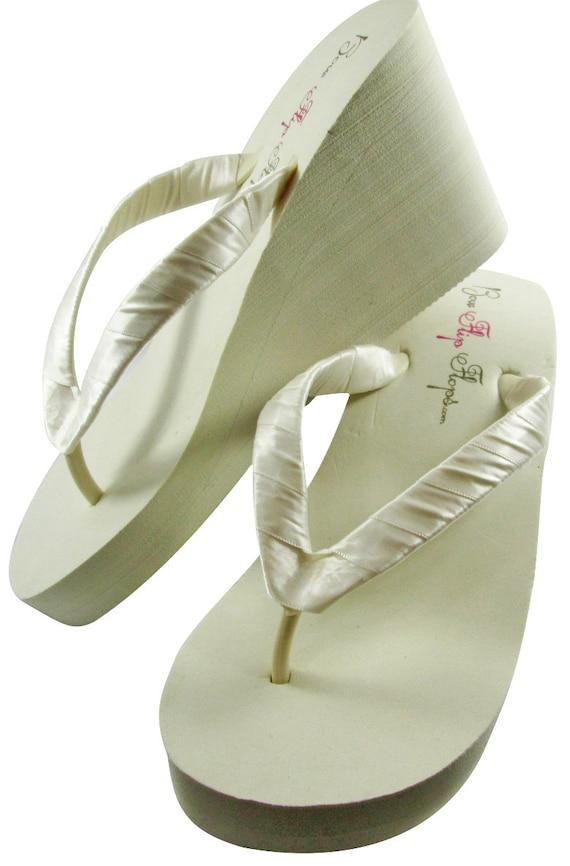 7877186384202 Plain Wedge Wedding Satin Ivory straps Flip Green Flops Sandals ...