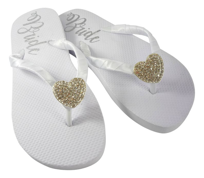 5234a81dfd1c7 Heart Bling Bride Flip Flops Sandals with Lettering on the