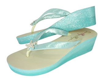 Starfish Flip Flops with Aqua Blue Glitter - choose your own colors