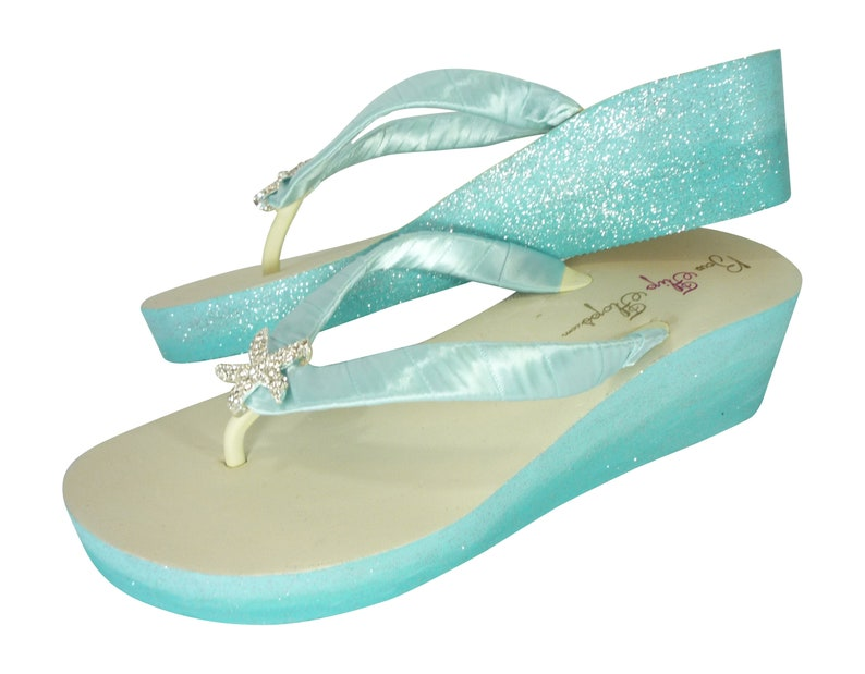 14255b2c1 Starfish Flip Flops with Aqua Blue Glitter choose your own