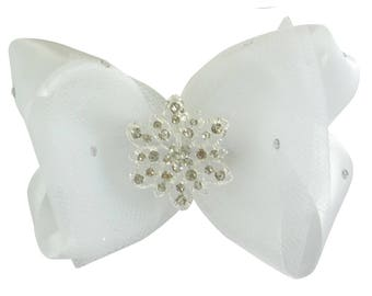 Tulle & Satin and Crystal Rhinestone Hair Bow Clip for Flower Girls with Vintage Lace Embellishment