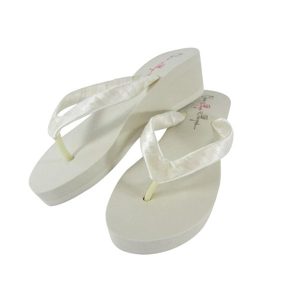 Flops 2 flops White Platform 1 Wedge 3 Plain Bridesmaid 5 Satin or Wedge Bride height Ivory flip Flip heel Wedge Sandals 25 Classic 7xY1wqH5